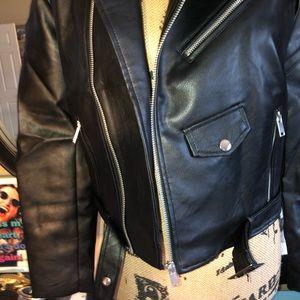 Love Tree Jackets & Coats - Chic Vegan Leather Moto Jacket